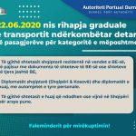 22.06.2020 Nis rihapja graduale e transportit ndërkombëtar detar të pasagjerëve për kategoritë e mëposhtme: